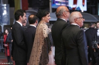 """CANNES, FRANCE - MAY 21: Producer Alexandre Mallet-Guy, director Asghar Farhadi, actor Shahab Hosseini, actress Taraneh Alidoosti, actor Babak Karimi and actor Farid Sajjadihosseini attend the """"The Salesman (Forushande)"""" during the 69th annual Cannes Film Festival at the Palais des Festivals on May 21, 2016 in Cannes, France. (Photo by Andreas Rentz/Getty Images)"""
